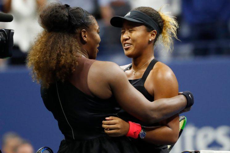 Venus Williams embraces Osaka on tennis court