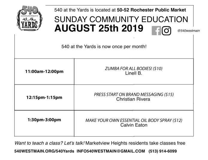 August 2019 yards calendar-