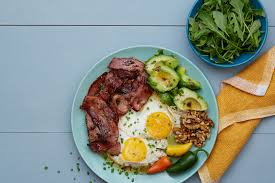 keto plate with eggs bacon avocado and spinach
