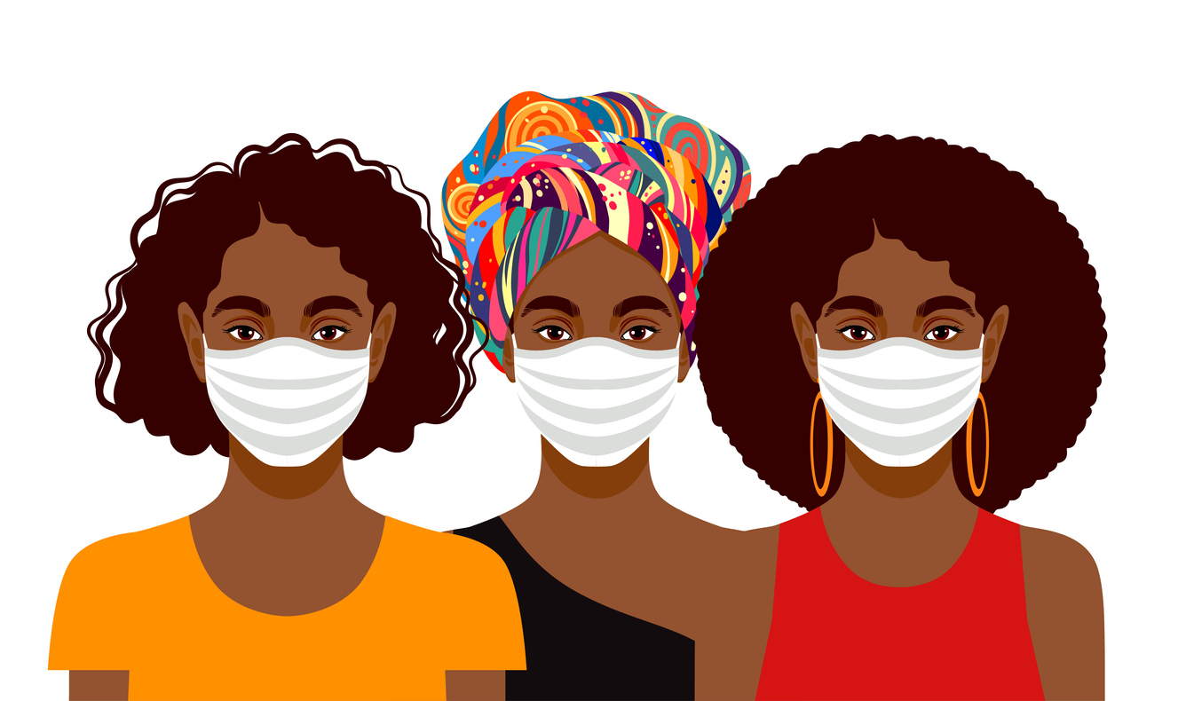 illustration of black women wearing masks against a white background