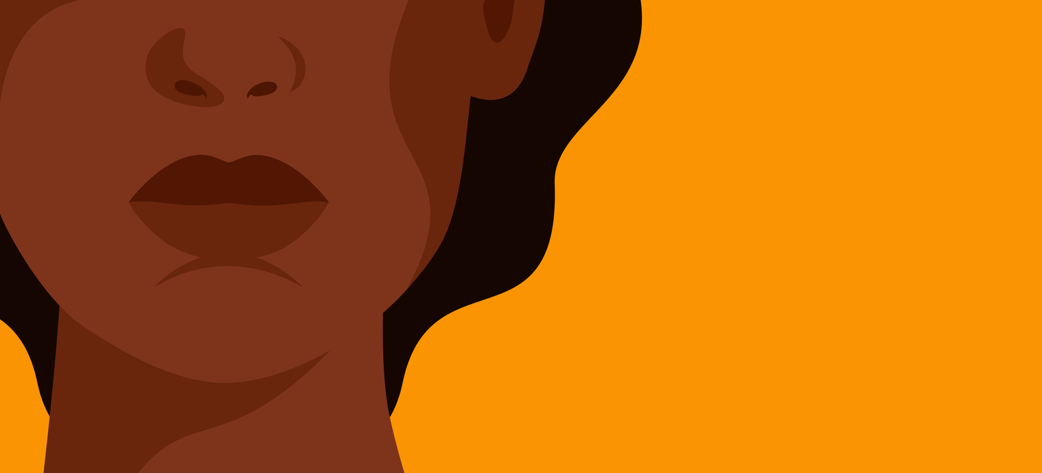 The face of a young strong African woman on yellow background.